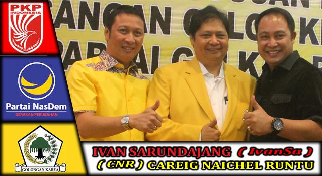 Ivan Sarundajang dan Careig Naichel Runtu bersama Ketua Umum DPP Partai Golkar Airlangga Hartarto