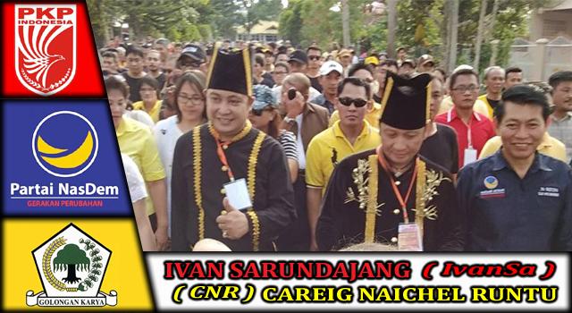 IvanSa-CNR saat berjalan kaki menuju Kantor KPU Minahasa bersama para pendukungnya