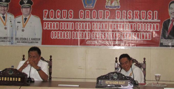 Gubernur Olly Dondokambey didampingi Ketua Kadin Sulut Hangky Gerungan