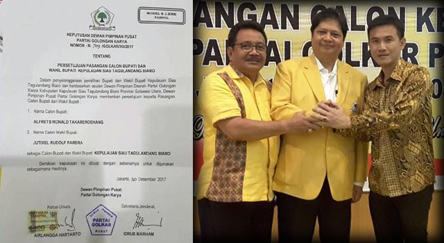 Ronald Takarendehang (kanan) Ketua Umum DPP Partai Golkar Erlangga Hartarto (tengah) dan Korwil Sulawesi Utara Syprus Tatali (Kiri)