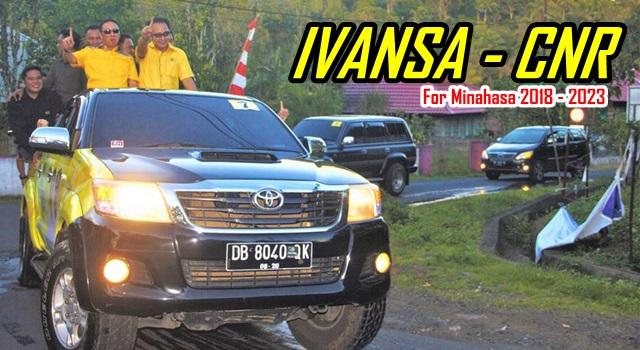 Ivan Sarundajang dan Careig Naichel Runtu saat konvoi kendaraan usai Deklarasi Kampanye Damai di Tondano. (Foto:IST)