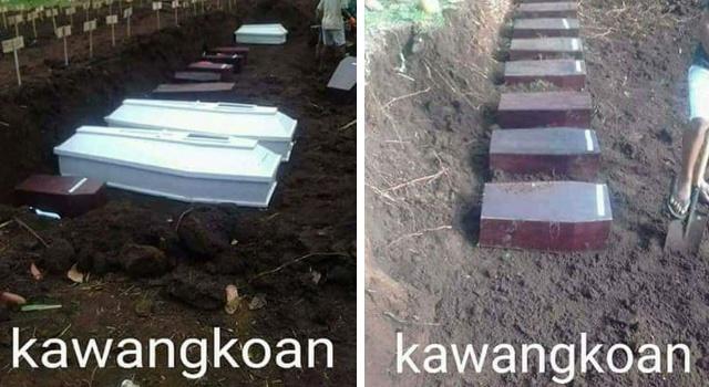 Kondisi kubur warga yang dipindahkan. Hanya dimasukan dalam 1 lubang.