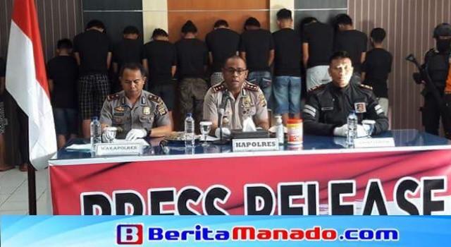 Kapolres Minut AKBP Alfaris Pattiwael SIK MH menjelaskan kronologi penangkapan pelaku.