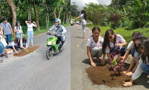 Wah… Jalan Lubang di Ir Soekarno Ditanami Bunga, Tamparan Keras Bagi Pemerintah