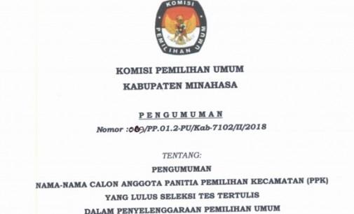Ini Daftar Nama Hasil Tes Tertulis PPK Se-Minahasa Untuk Pemilu 2019