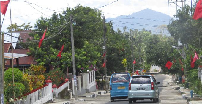 Bendera PDIP menominasi udara desa Koka