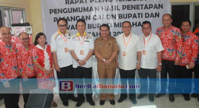Ivan Sarundajang dan Careig Runtu bersama perwakilan Pemkab Minahasa dan Komisioner KPU Minahasa