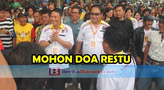 Ivan Sarundajang dan Careig Runtu disambut para pendukung dan simpatisan usai penetapan pasangan calon oleh KPU Minahasa