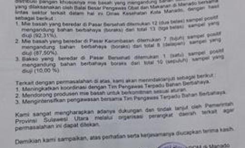 Waduh !!! 90 Persen Mie Basah di Pasar Bersehati dan Karombasan Gunakan Boraks, JAMES KARINDA: Hukum Berat!!