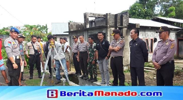 Pengukuran elevasi tanah berjalan sukses dibawa pengawasan Polres Minut, Pemerintah Kecamatan Likbar.