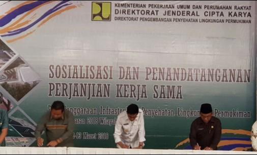 Wali Kota Tomohon Tandatangani PKS Infrastruktur Penyehatan Lingkungan Permukiman