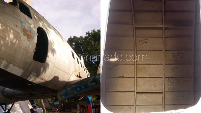Tak hanya dinding luar, bagian di dalam peswat tak luput dari aksi vandalisme
