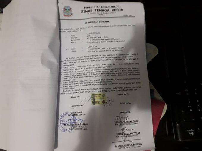 Surat kesepakatan dua belah pihak yang ditandatangani di atas materai