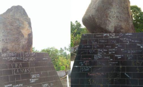 "Setelah Monumen Trikora, Giliran Tugu Jepang Manebo-nembo ""Dipercantik"" Coretan"