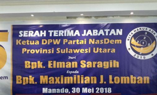 Ketua DPW NasDem Sulut, Max Lomban Gantikan Posisi Elman Saragih