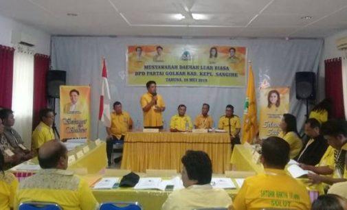 Bupati JABES GAGHANA Terpilih Jadi Ketua DPD II Partai Golkar Sangihe