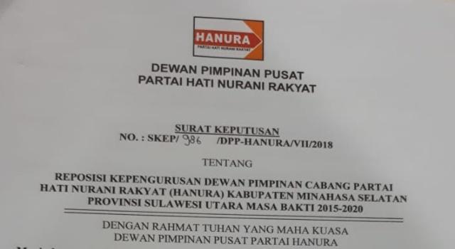 SK Ketua Hanura Minsel