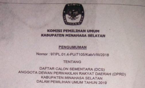 KPU Umumkan DCS Calon Anggota DPRD Minsel Dalam Pemilu 2019