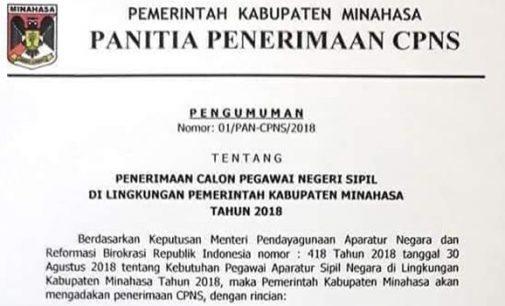 Ini Formasi Penerimaan CPNS Kabupaten Minahasa Tahun 2018