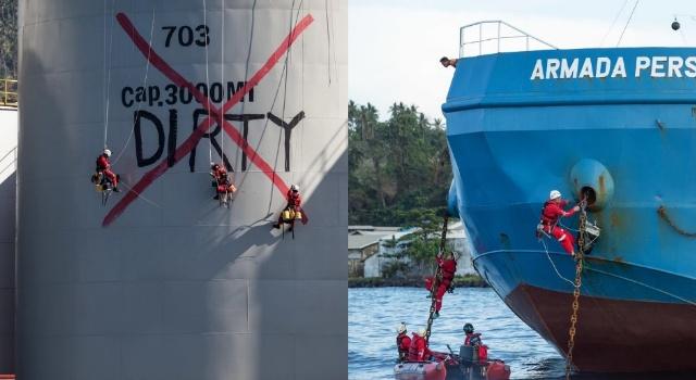 Aksi Greenpeace di kilang dan kapal PT MNS Kota Bitung