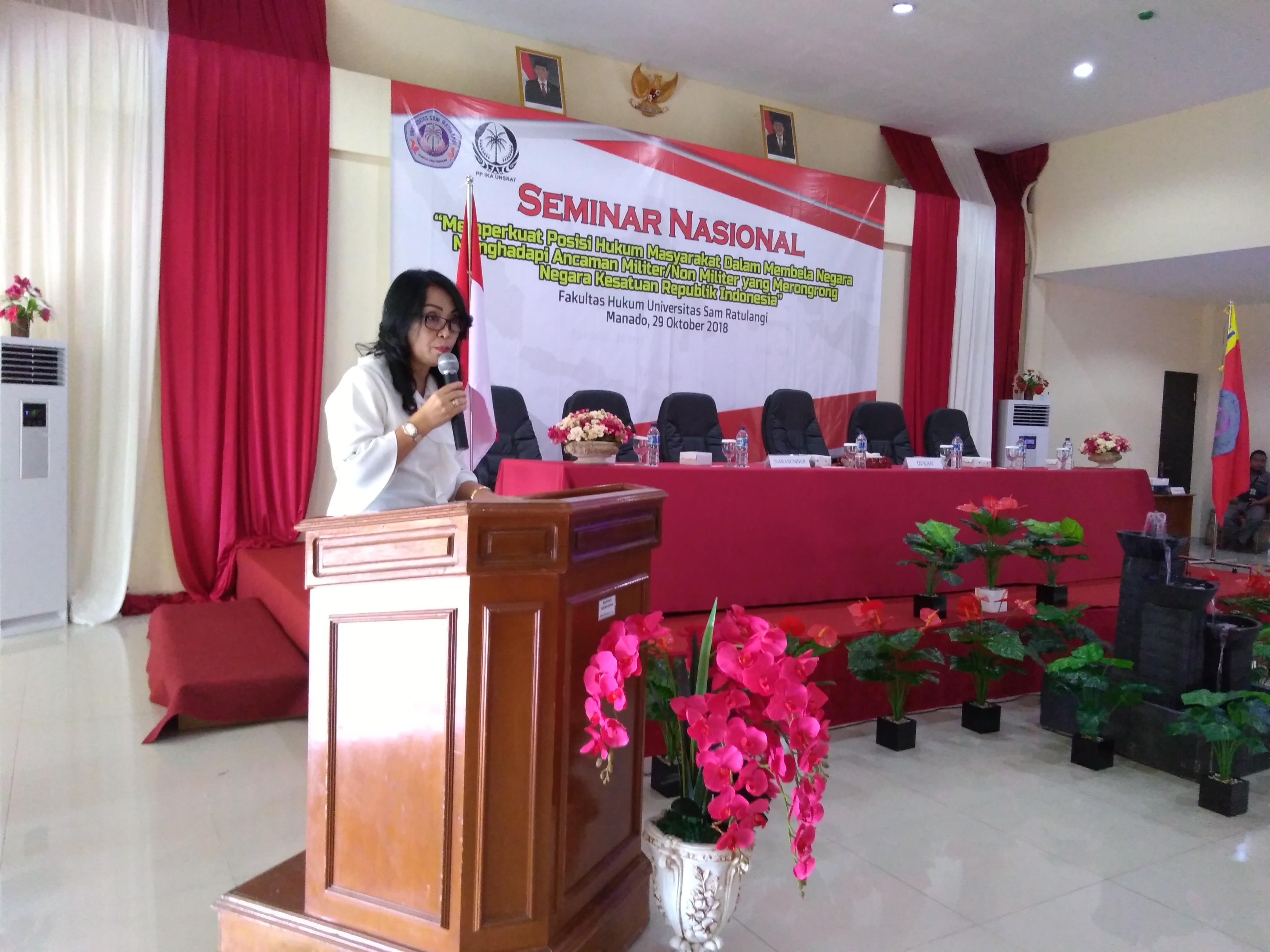 Sambutan Dekan FH Unsrat Dr Flora Kalalo SH MH, Senin (29/10/2018)