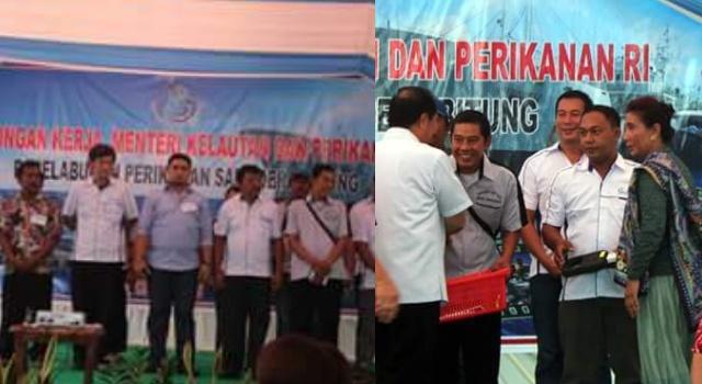 Menteri Susi saat menyerahkan bantuan kepada nelayan di Kota Bitung