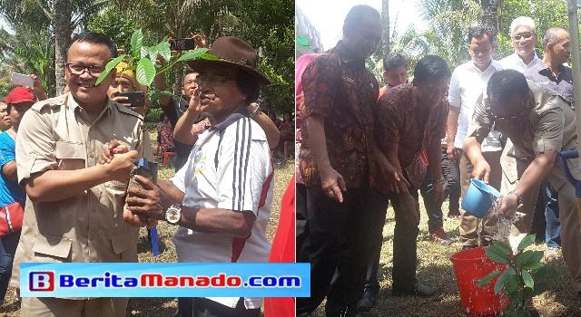 Edhy Prabowo menyalurkan bantuan bibit pohon serta menanam pohon di Talawaan.