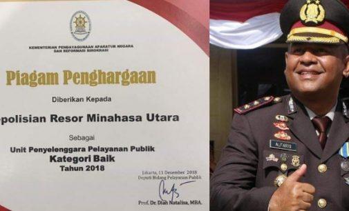 Polres Minut Raih Penghargaan Kementerian PAN RB
