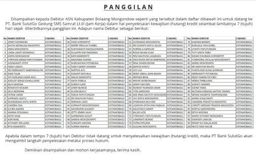 Bank SulutGo Umumkan Pemanggilan 100 Debitur ASN Pemkab Bolmong