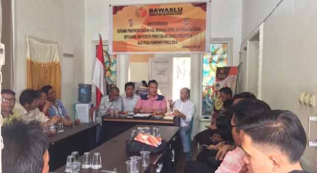 Rakor Bawaslu Minut, Jumat (15/2/2019).