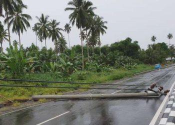 Sebuah tiang listrik tumbang menutup jalur dua arah di Desa Wasian.