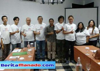 Ketua AMSI Sulut Agus Hari, Pemimpin Umum PT Berita Manado Communication Hanny Sumakul, bersama redaksi BeritaManado.com