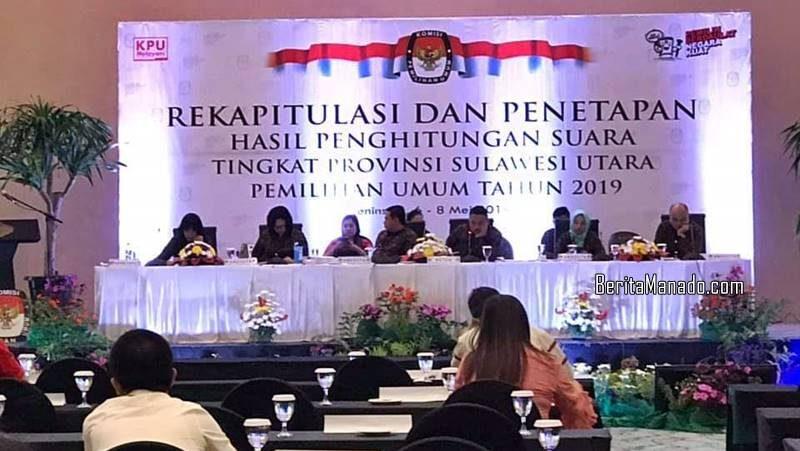 Rekapitulasi dan Penetapan Hasil Penghitungan Suara Tingkat Provinsi Sulawesi Utara di Peninsula Hotel Manado, 6-8 Mei 2019