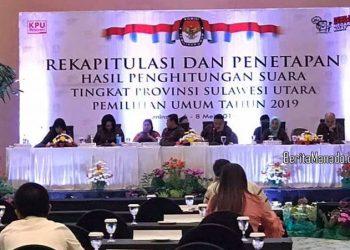 Rekapitulasi da Penetapan Hasil Penghitungan Suara Tingkat Provinsi Sulawesi Utara di Peninsula Hotel Manado, 6-8 Mei 2019