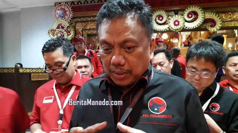 """""""PDI Perjuangan target sapu bersih seluruh Pilkada di Sulawesi Utara,"""" ujar Olly Dondokambey kepada BeritaManado.com di sela Kongres V PDIP di Inna Grand Bali Beach, Denpasar, Jumat (9/8/2019) malam."""