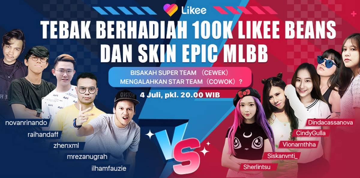 Tebak berhadiah 100K Likee Beans dan Skin Epic MLBB, 4 Juli 2020