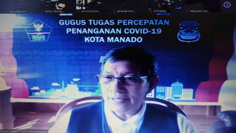 Wali Kota Manado Vicky Lumentut pada webdiskusi yang digelar Justitia Societas