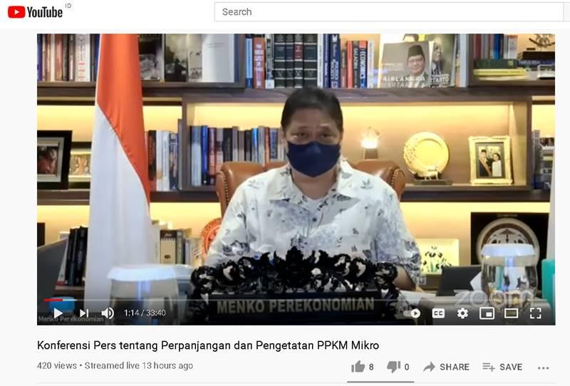 Airlangga Hartanto saat memberikan Konferensi Pers tentang Perpanjangan dan Pengetatan PPKM Mikro (Tangkapan layar Youtube Perekonomian RI)
